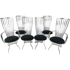 Stunning Modern Set of Sculptural Steel Dining Chairs