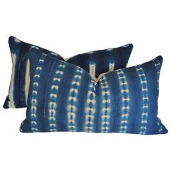 Pair of Pillows Cut from Vintage African Hand-Loomed Indigo Cotton, Mali