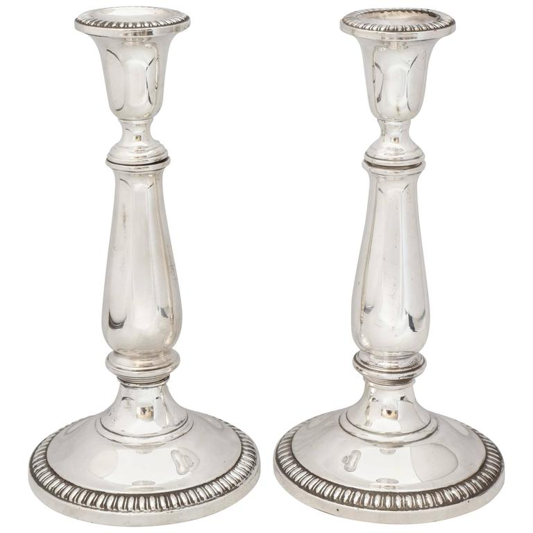 Empire Style Pair of Sterling Silver Candlesticks For Sale