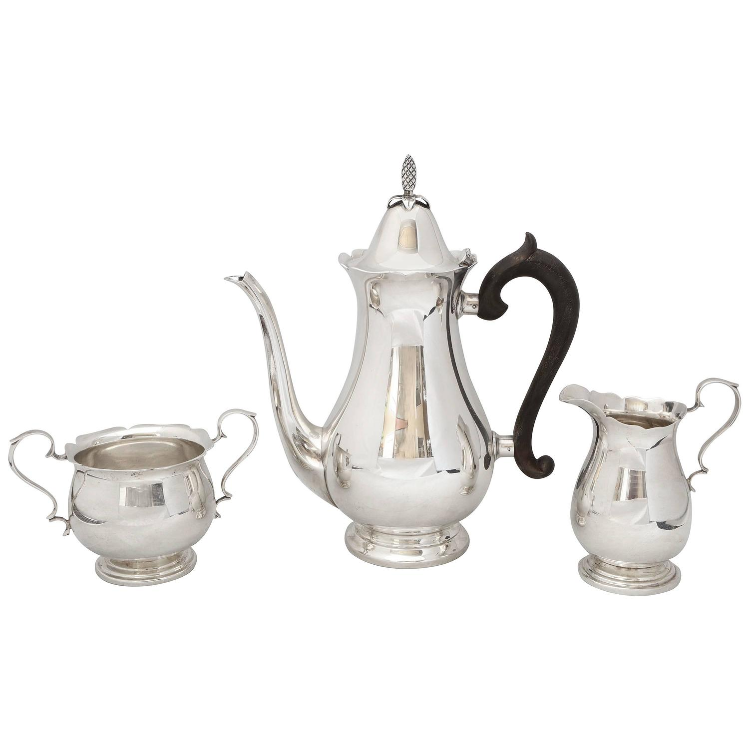 Sterling Silver American Colonial Style Three Piece Coffee