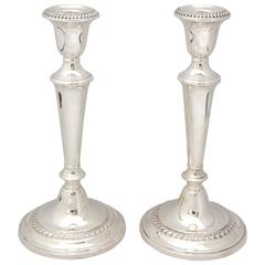 Pair of Empire Style Sterling Silver Candlesticks