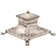 Edwardian Sterling Silver Footed Inkwell with Hinged Lid
