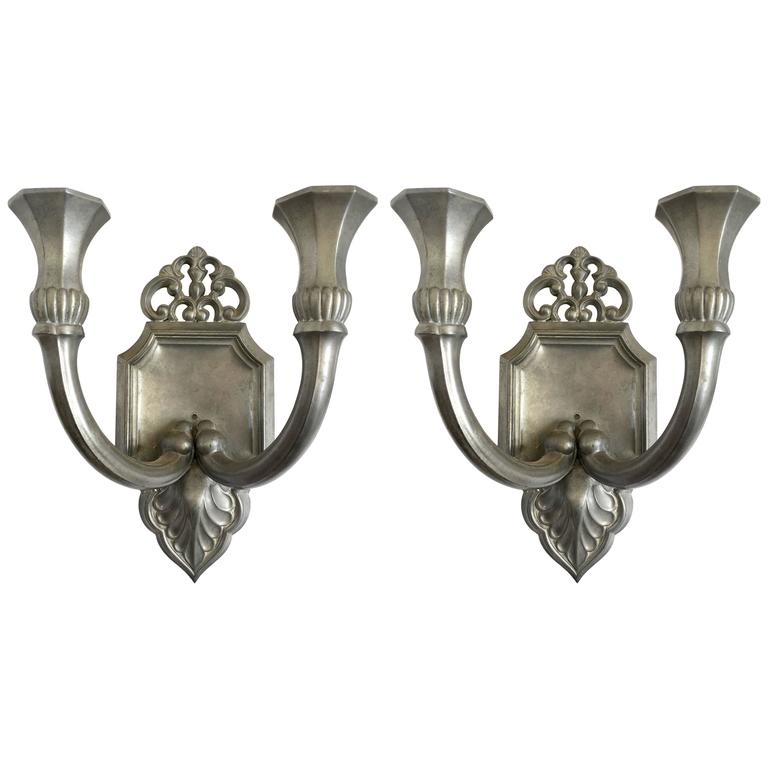 Pair of Just Andersen Pewter Candle Sconces, Signed at 1stdibs