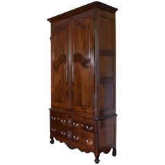 Tall Louis XV Period Walnut Armoire with Two-Drawer, 3rd Quarter 18th Century