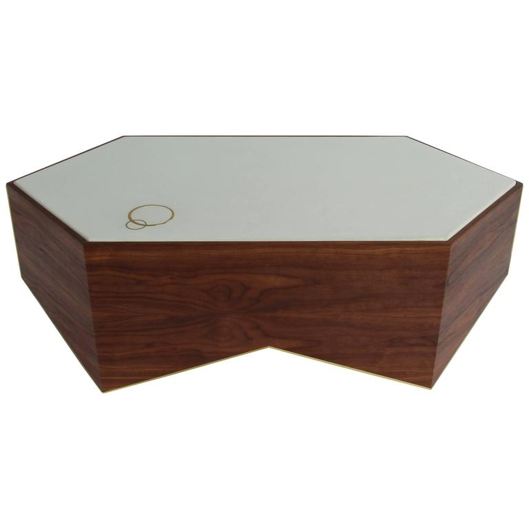 Shard Cocktail Table in Walnut, White Concrete and Brass