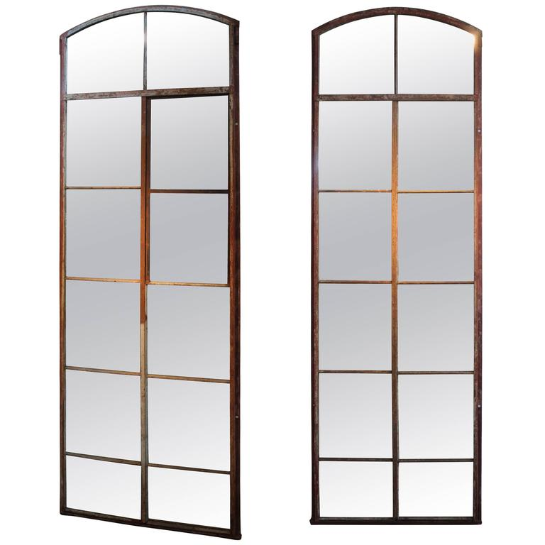 Tall arch industrial window frame floor mirrors at 1stdibs for Full length window mirror