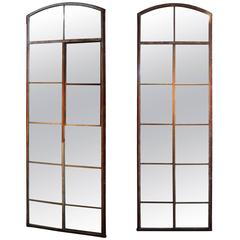 Tall Arch Industrial Window Frame Floor Mirrors