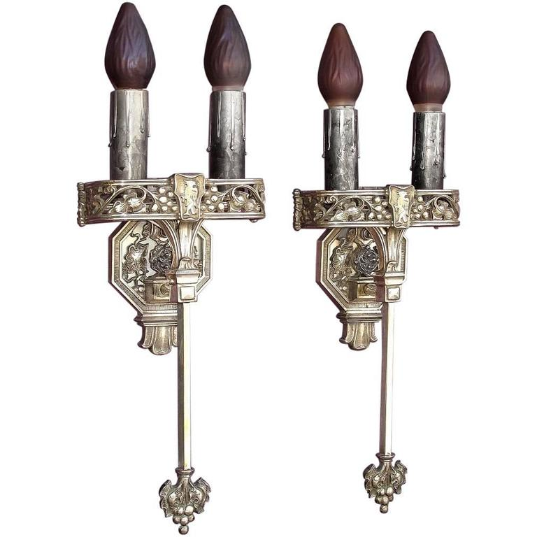 Large Tudor / Gothic Two Bulb Sconces, 1920s For Sale at 1stdibs