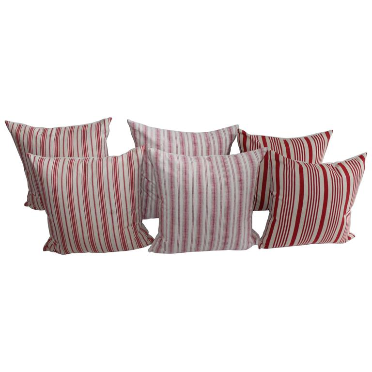 19th Century Red Ticking Pillows, Pair