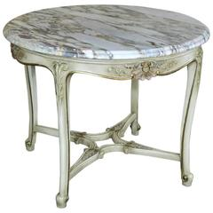 19th Century French Marble-Top Painted Center Table