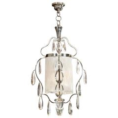 Elis Bergh for C.G. Hallberg, Swedish Silvered Metal and Glass Chandelier
