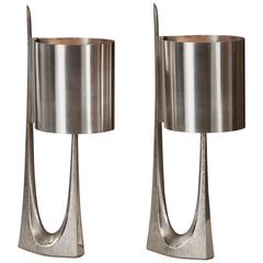"Maison Charles, Sculptural Pair of Silvered Bronze ""Rush"" Lamps"