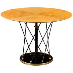 Martin et Guenier, French Brass, Painted and Sycamore Adjustable Round Table