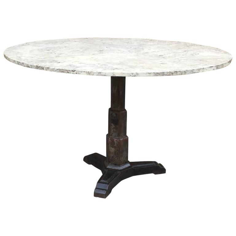 Art Deco Round Composite And Cast Iron Pedestal Dining Table For Sale