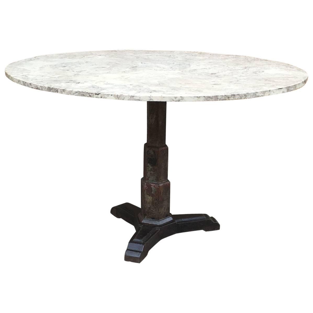 Art deco round composite and cast iron pedestal dining for Cast iron dining table