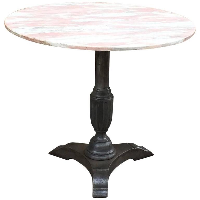 Marble Bistro Accent Table: 1930s Round Pink Marble And Cast Iron Bistro Café Pedestal