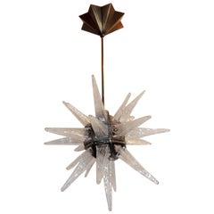 Wonderful Star Bronze 8 Fixtures Art Glass Deco Modern Baguès Rock Chandelier