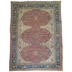 Distressed Antique Persian Mahal Carpet