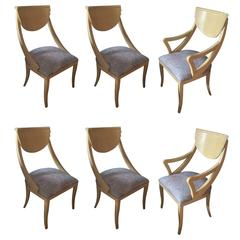 Set of Two Captain and Four Gondola Dining Chairs