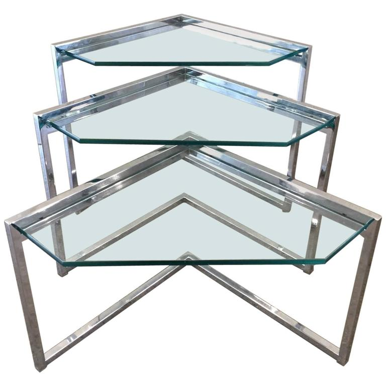 Milo Baughman Geometric Chrome Nesting Tables