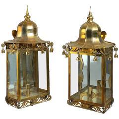 20th Century Pair of Brass Chinoiserie Wall Lanterns