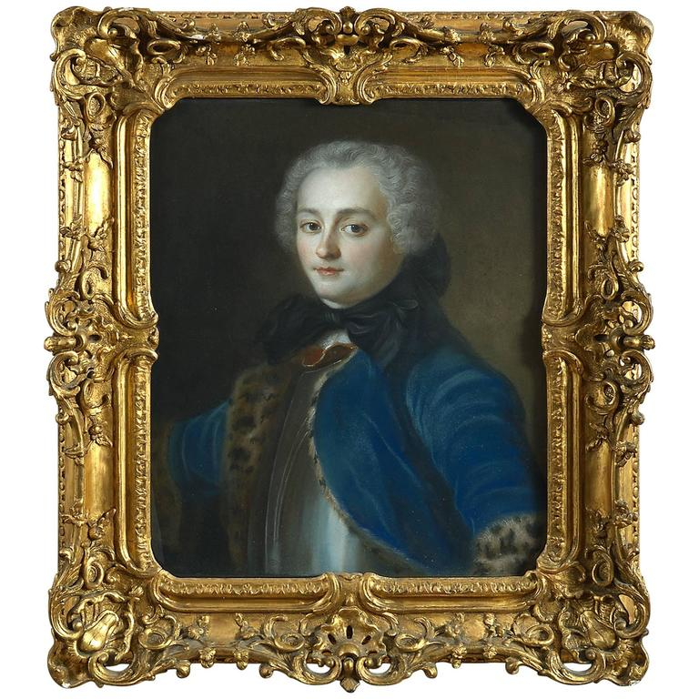 18th Century Portrait of a Gentleman, Pastel on Paper Card, in a Louis XV carved