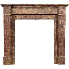 French Louis XVI Style Spanish Brocatelle Marble Chimneypiece