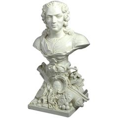 Early 19th Century Creamware Bust of Louis XV of France
