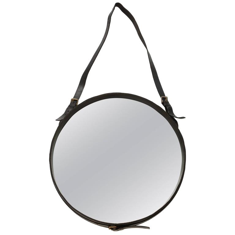 Authentic Mid Century Jacques Adnet Leather Round Wall Mirror Black 1950