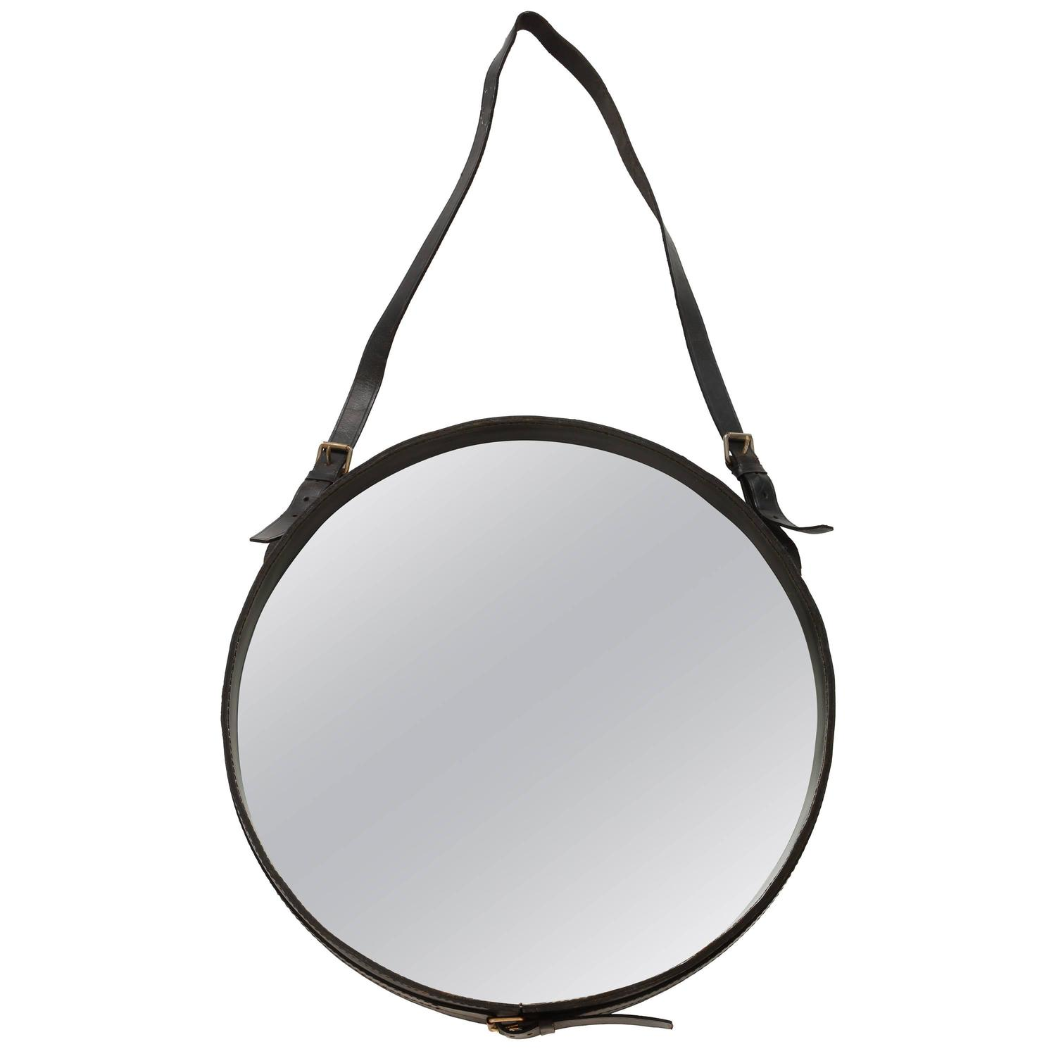 Jacques adnet design modernist round leather hanging wall mirror authentic mid century jacques adnet leather round wall mirror black 1950 amipublicfo Choice Image