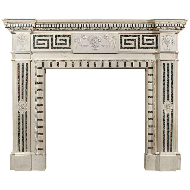 19th Century English Statuary and Inlaid Tinos Marble Fireplace