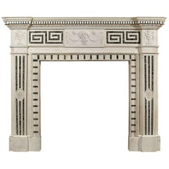 19th Century English Statuary and Inlaid Tinos Marble Fireplace