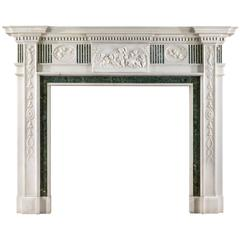 Fine Early 20th Century Statuary and Inlaid Verde Antico Marble Fireplace Mantel