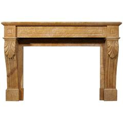 19th Century French Louis Philippe Yellow Marble Fireplace