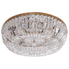 Monumental Crystal Glass and Brass Flush Mount or Sconce by Palwa