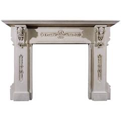 19th Century English Carved Limestone Fireplace in the Gothic Taste