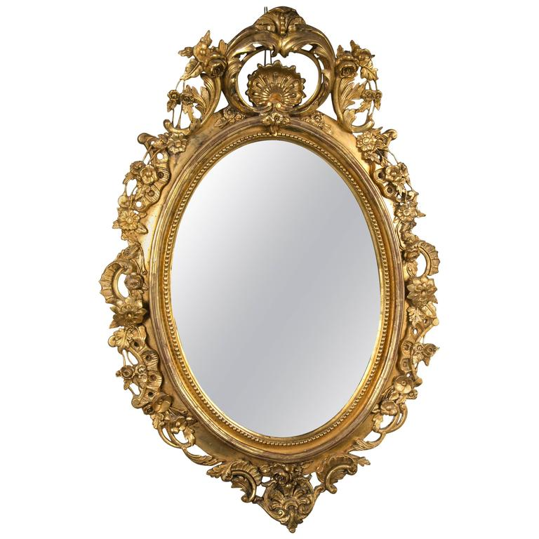 Monumental Antique Louis XV Style Wood and Gilt Gesso Mirror For Sale