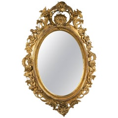 Monumental Antique Louis XV Style Wood and Gilt Gesso Mirror