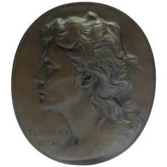 "Adolf Ernest Robert Hildebrand ""Portrait of Eleonora Duse"", Bronze Medallion"