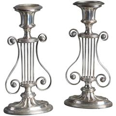 Pair of Early 19th Century Sheffield Plate Candlesticks of Iyre form
