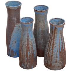 Set of Four Huge Susanne Protzmann Ceramic Vases in Blue