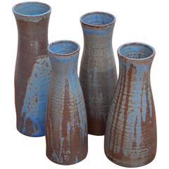 Set aus Vier riesigen Vasen Keramik Susanne Protzmann in Blau
