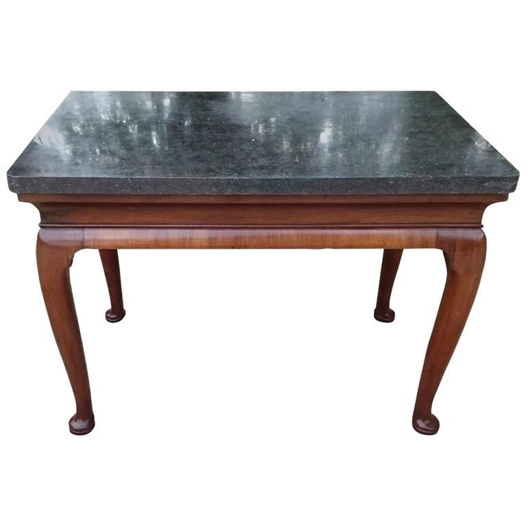 Important Early 18th Century Belgian Fossil Marble Walnut Console Table
