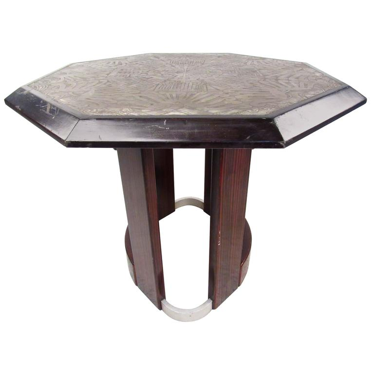 Mid-Century Italian Pedestal Table with Artistic Metal Top