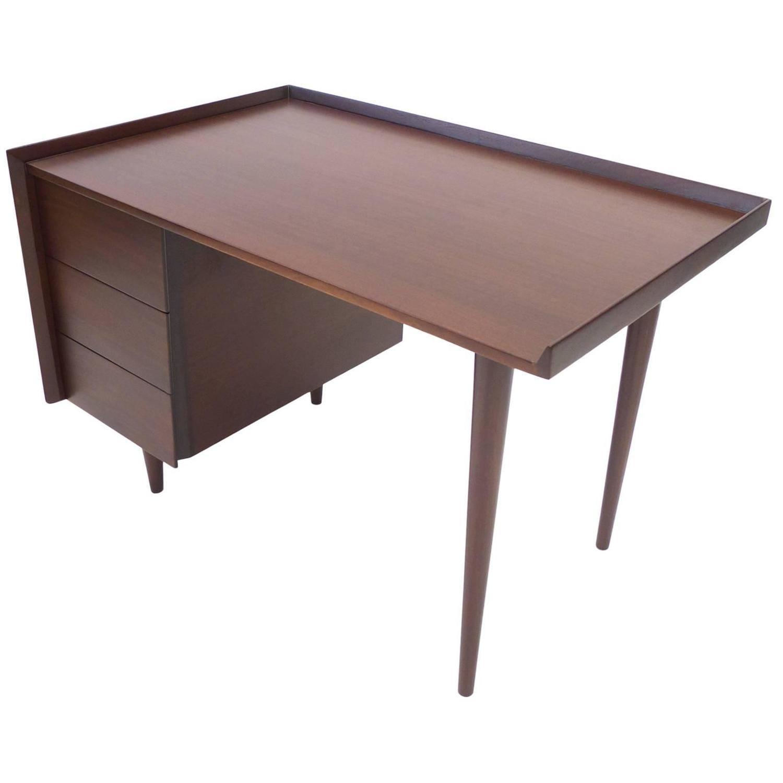 Sleek Desk Sleek Midcentury Modern Jens Risom Threedrawer Mahogany Writers