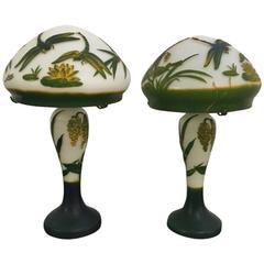 Pair of Emile Gallé Signed Art Nouveau Table Lamps