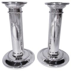 Pair of Sterling Silver Beaded Column Candlesticks by Goodnow & Jenks