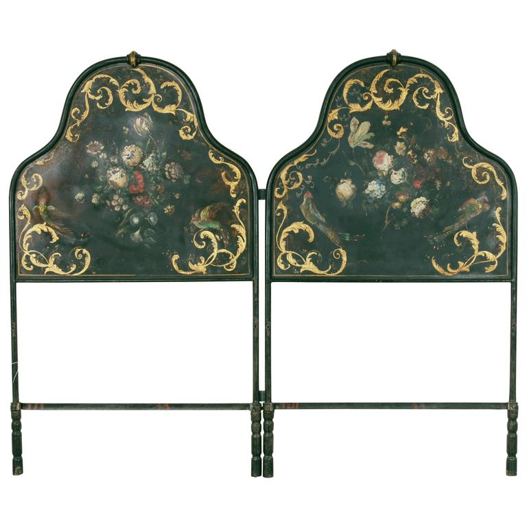 Hand Painted And Gilt Napoleon Iii Period Headboard For