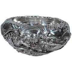 Fantastic Japanese Silver Centerpiece Bowl with Dragon