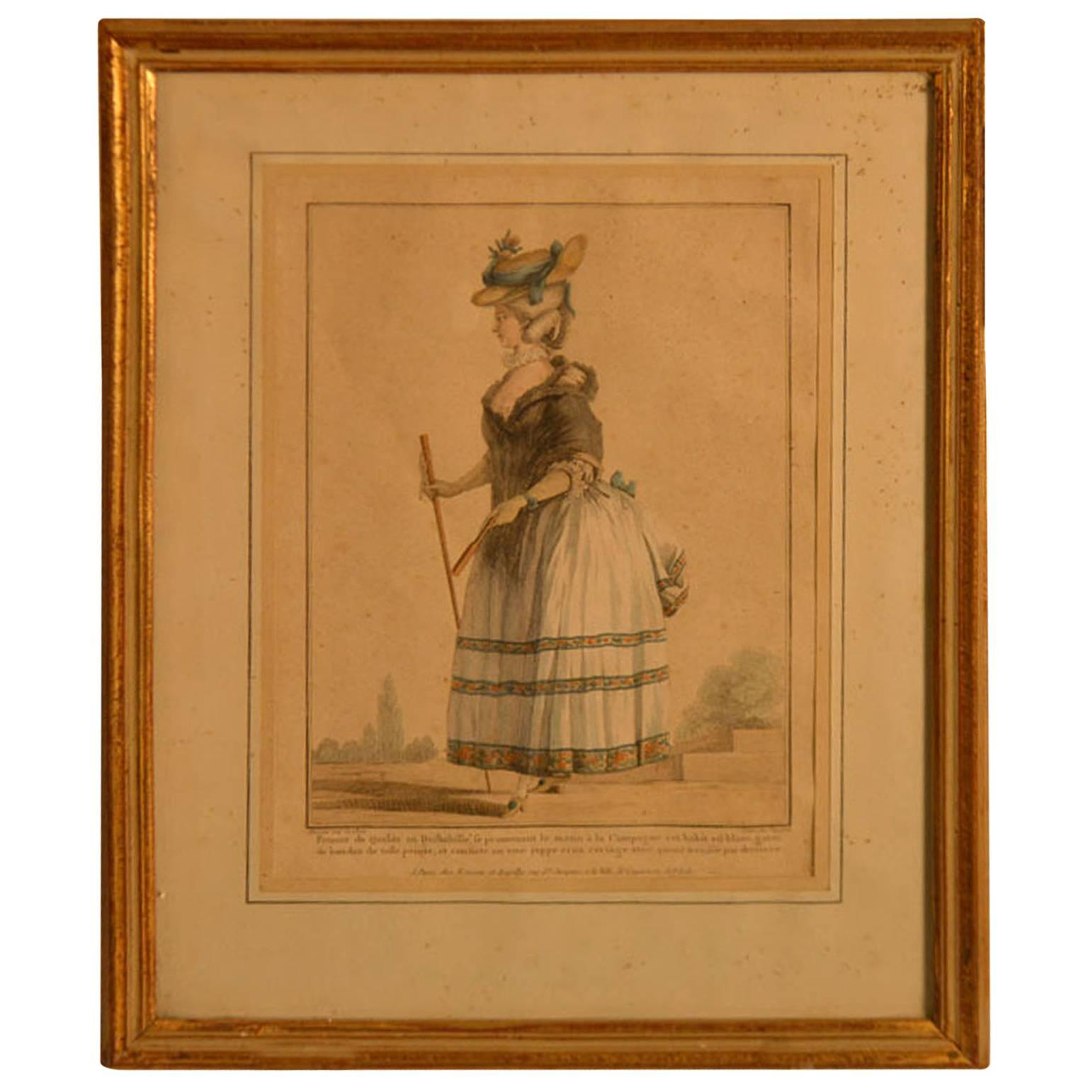 18th Century Framed Fashion Engraving